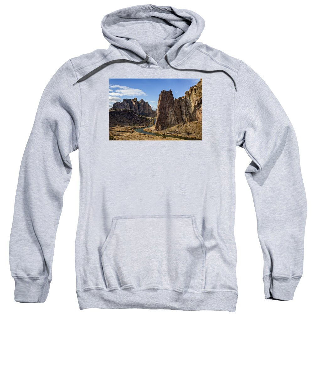 Smith Rock Sweatshirt featuring the photograph River And Rock by Belinda Greb