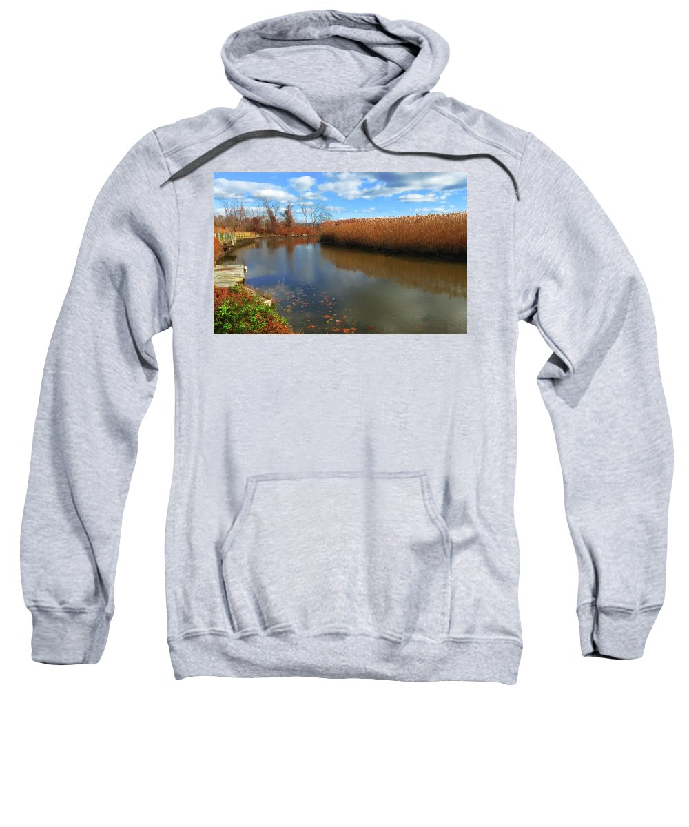 Still Waters Sweatshirt featuring the photograph River Hudson Autumn Creek by Roger Bester