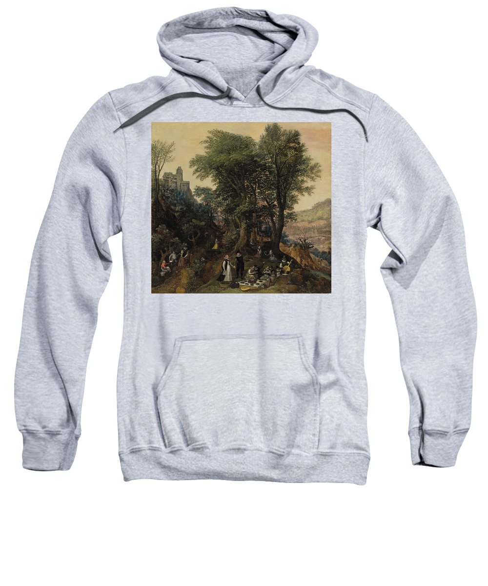 Lucas Van Valckenborch Sweatshirt featuring the painting River Landscape In The Spring With Castle And Noblemen by MotionAge Designs