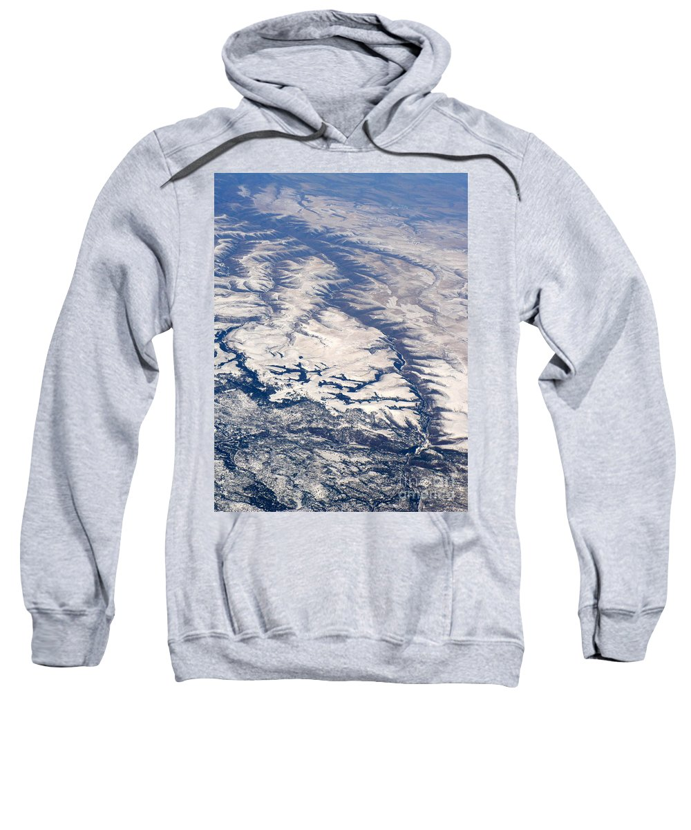 Aerial Sweatshirt featuring the photograph River Valley Aerial by Carol Groenen