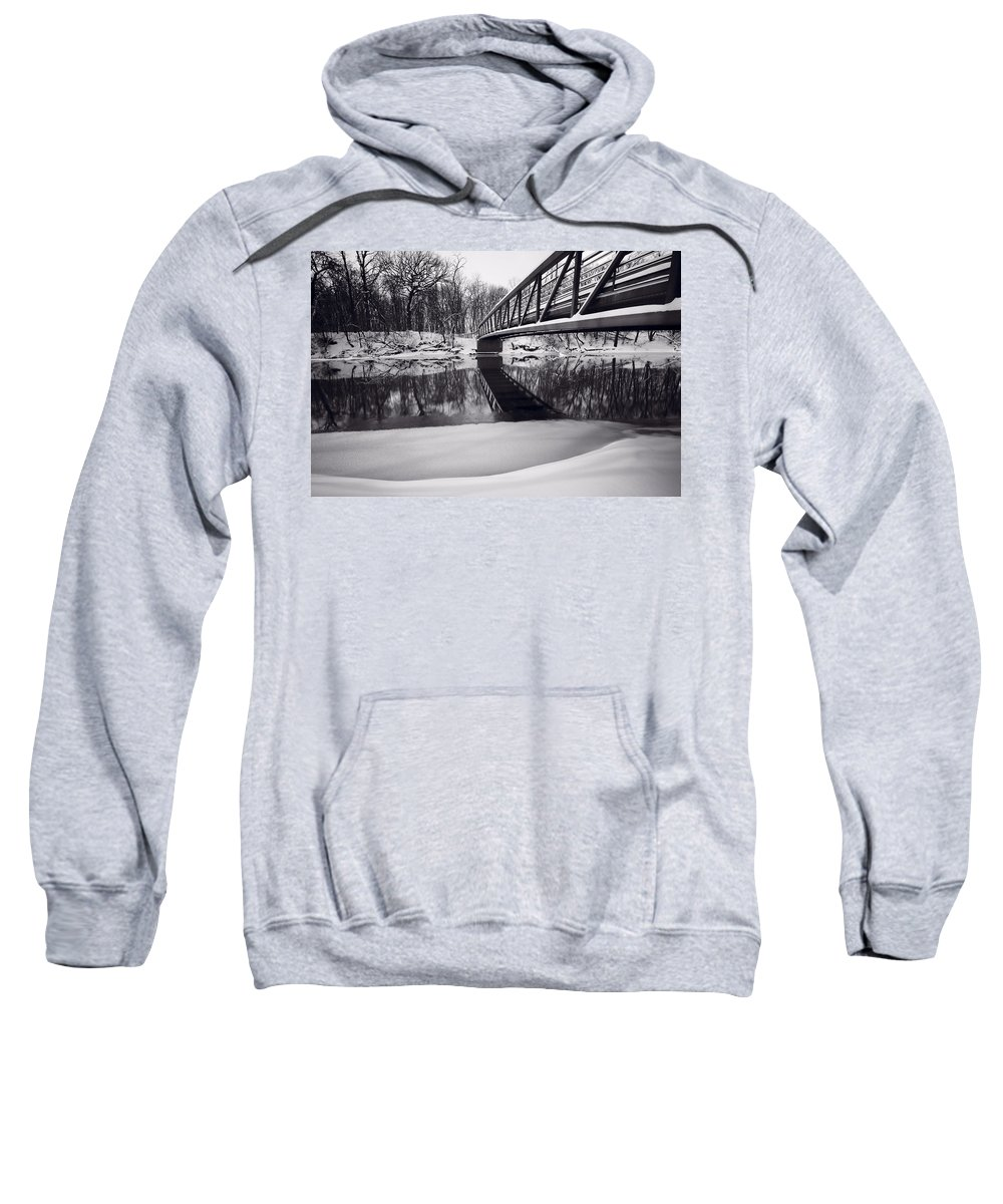 Bridge Sweatshirt featuring the photograph River View B And W by Steve Gadomski