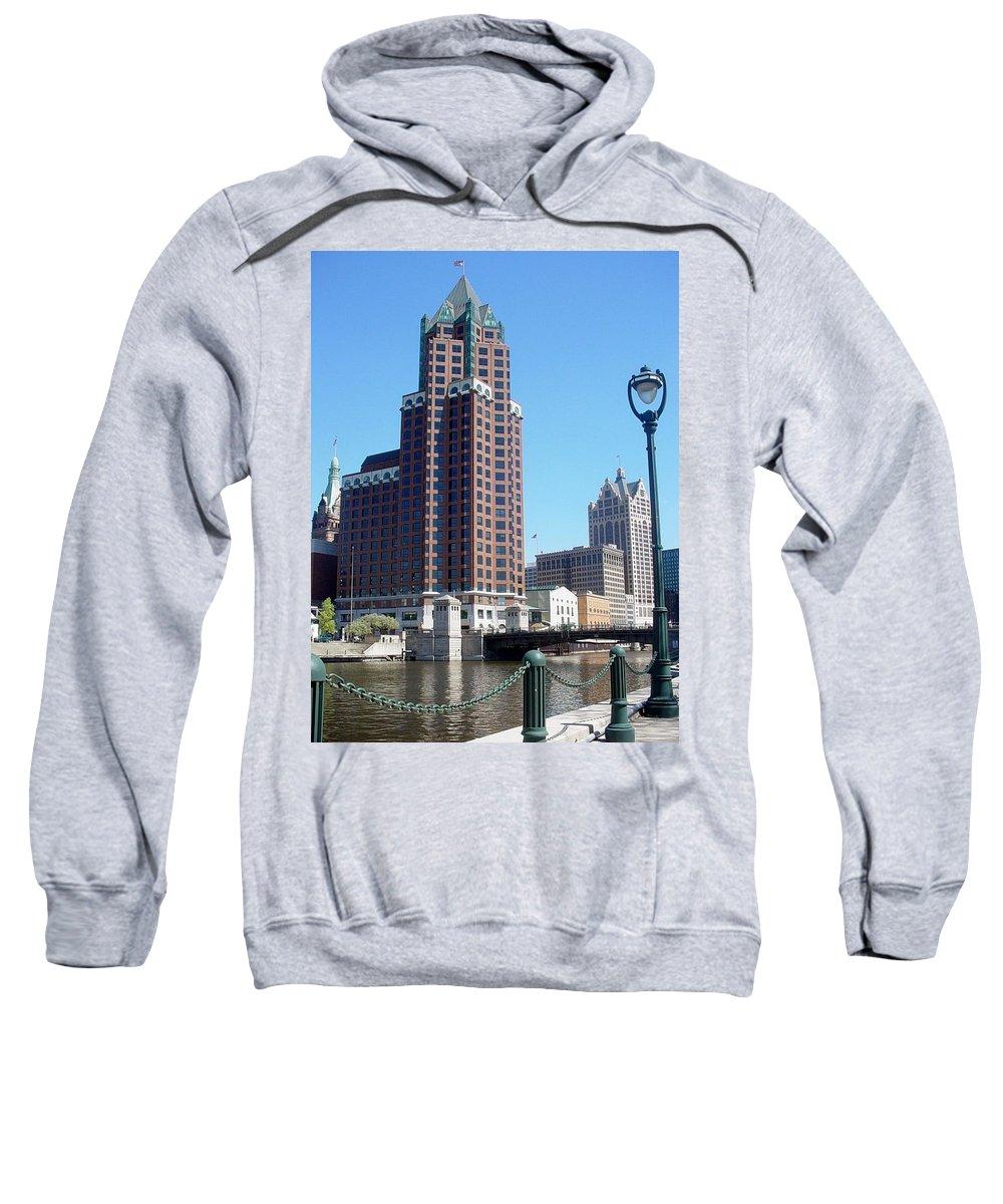 Milwaukee Sweatshirt featuring the photograph River Walk View Photo by Anita Burgermeister