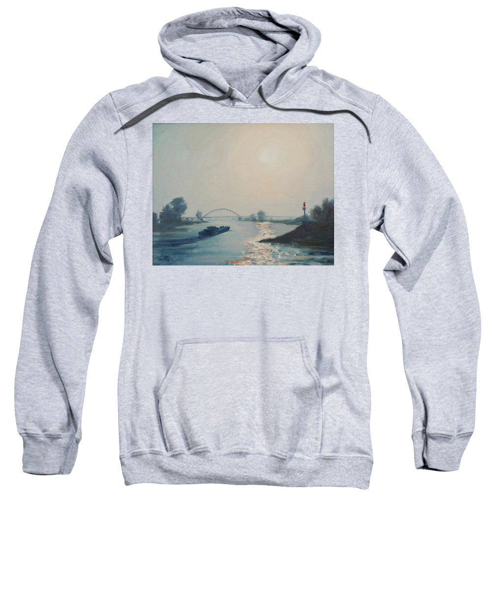 River Sweatshirt featuring the painting Riverbarge by Rick Nederlof