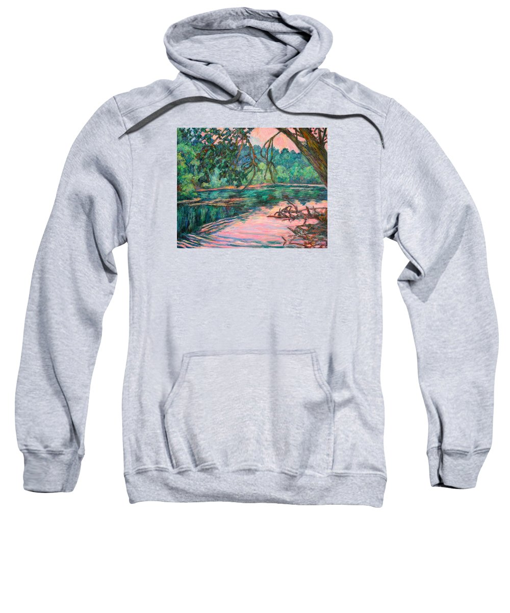 Riverview Park Sweatshirt featuring the painting Riverview At Dusk by Kendall Kessler