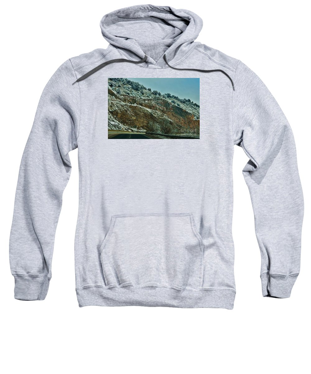 Snow Sweatshirt featuring the photograph Road Cut by CL Redding