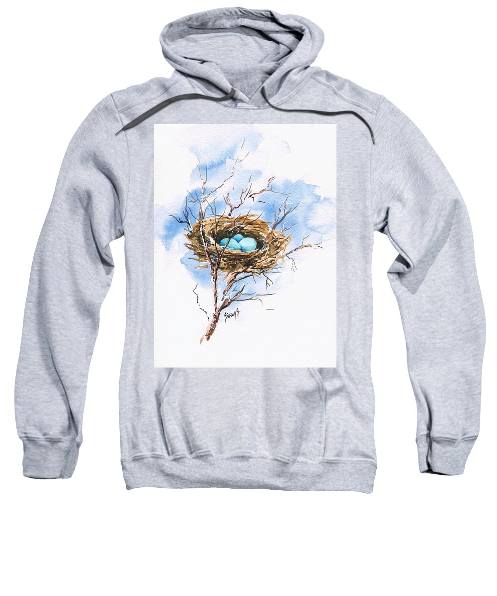 Nest Sweatshirt featuring the painting Robin's Nest by Sam Sidders