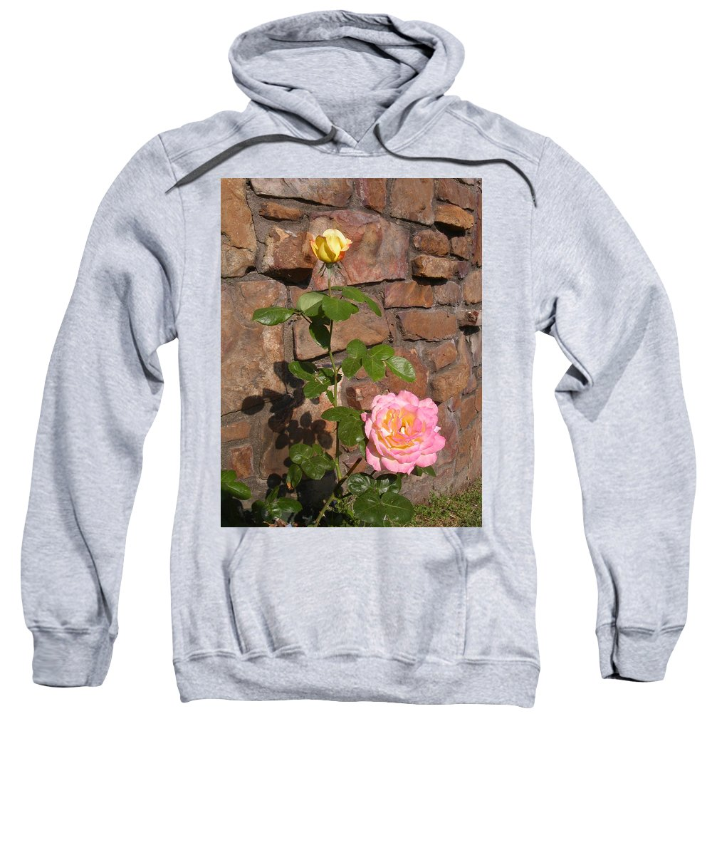 Rose Sweatshirt featuring the photograph Rock And Rose by Anne Cameron Cutri