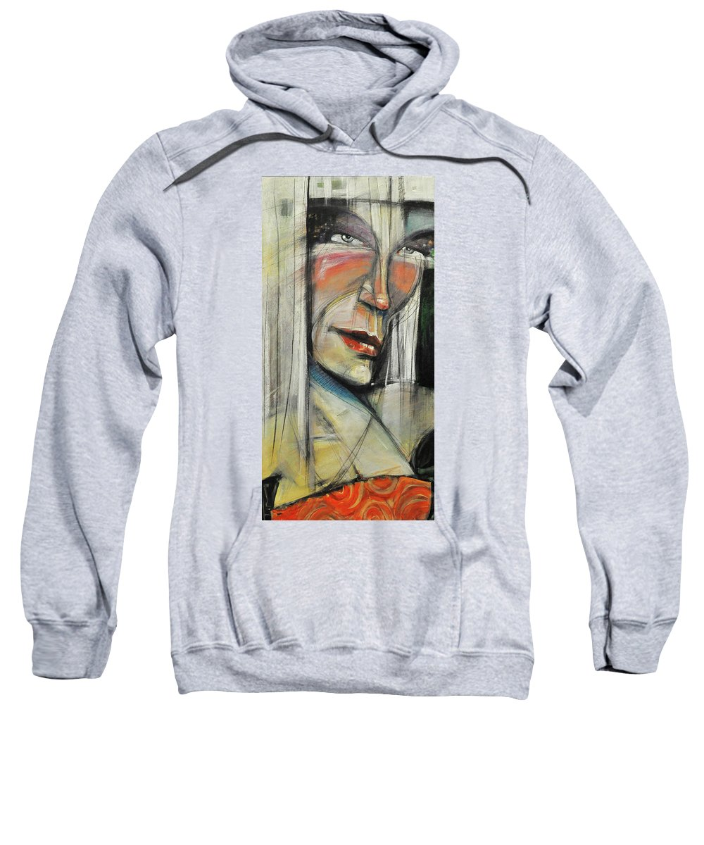 Woman Sweatshirt featuring the painting Rock Diva Or Pris by Tim Nyberg