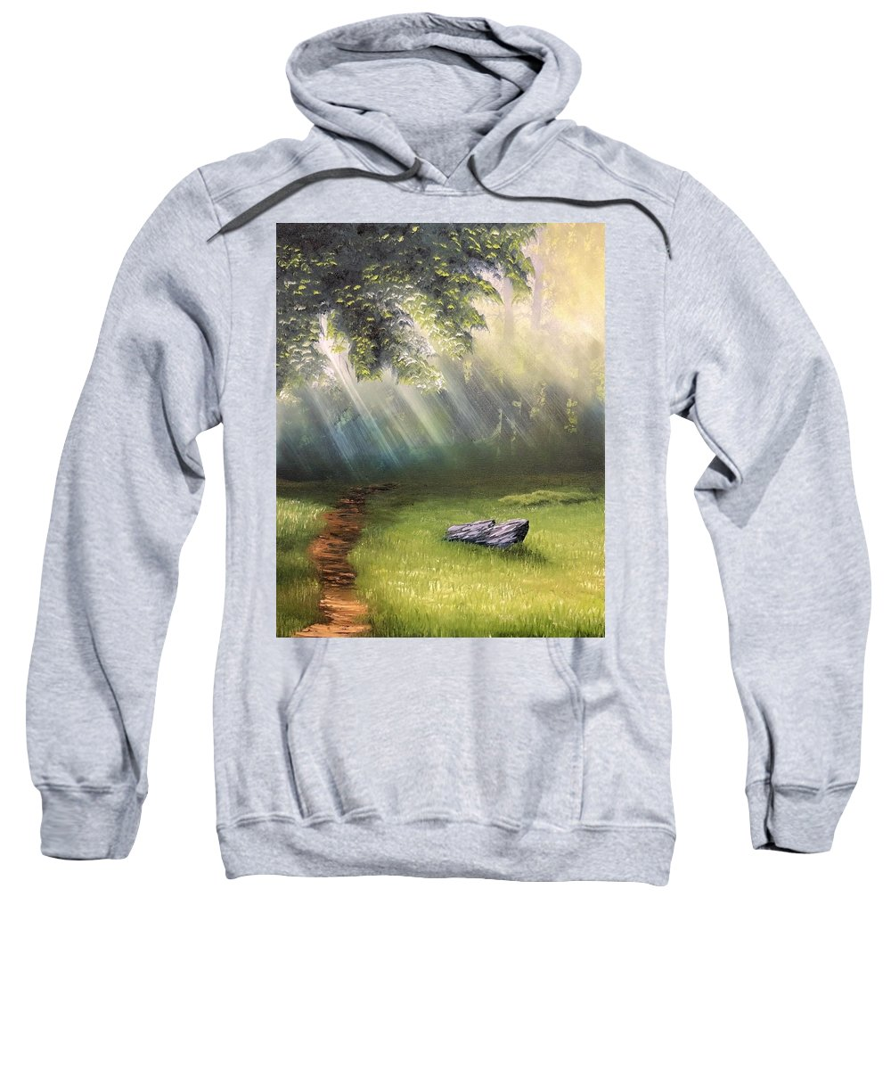Landscape Sweatshirt featuring the painting Rock In Sunlight by Paul Anderson
