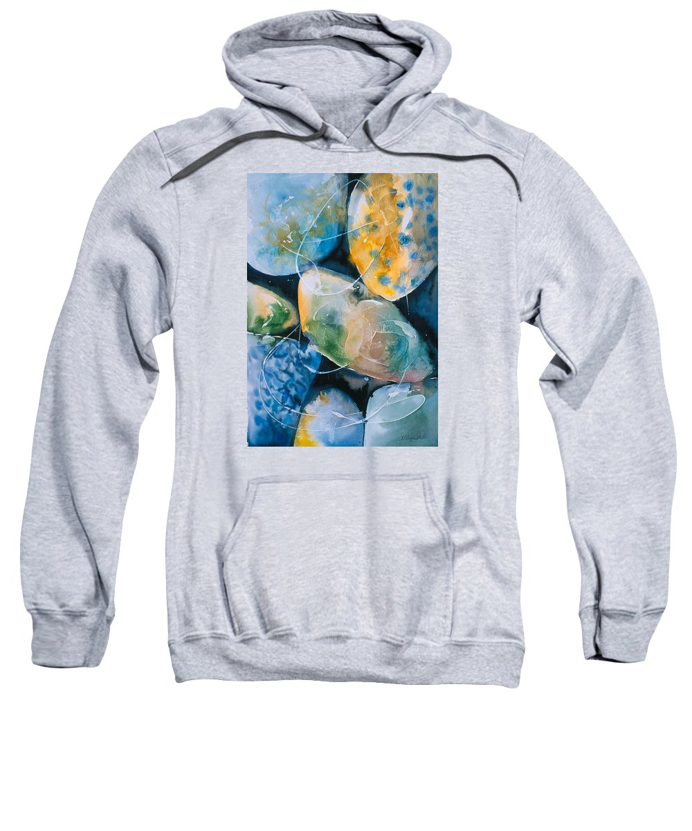 Water Sweatshirt featuring the painting Rock In Water by Allison Ashton