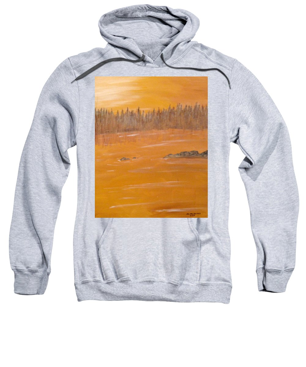 Northern Ontario Sweatshirt featuring the painting Rock Lake Morning 2 by Ian MacDonald
