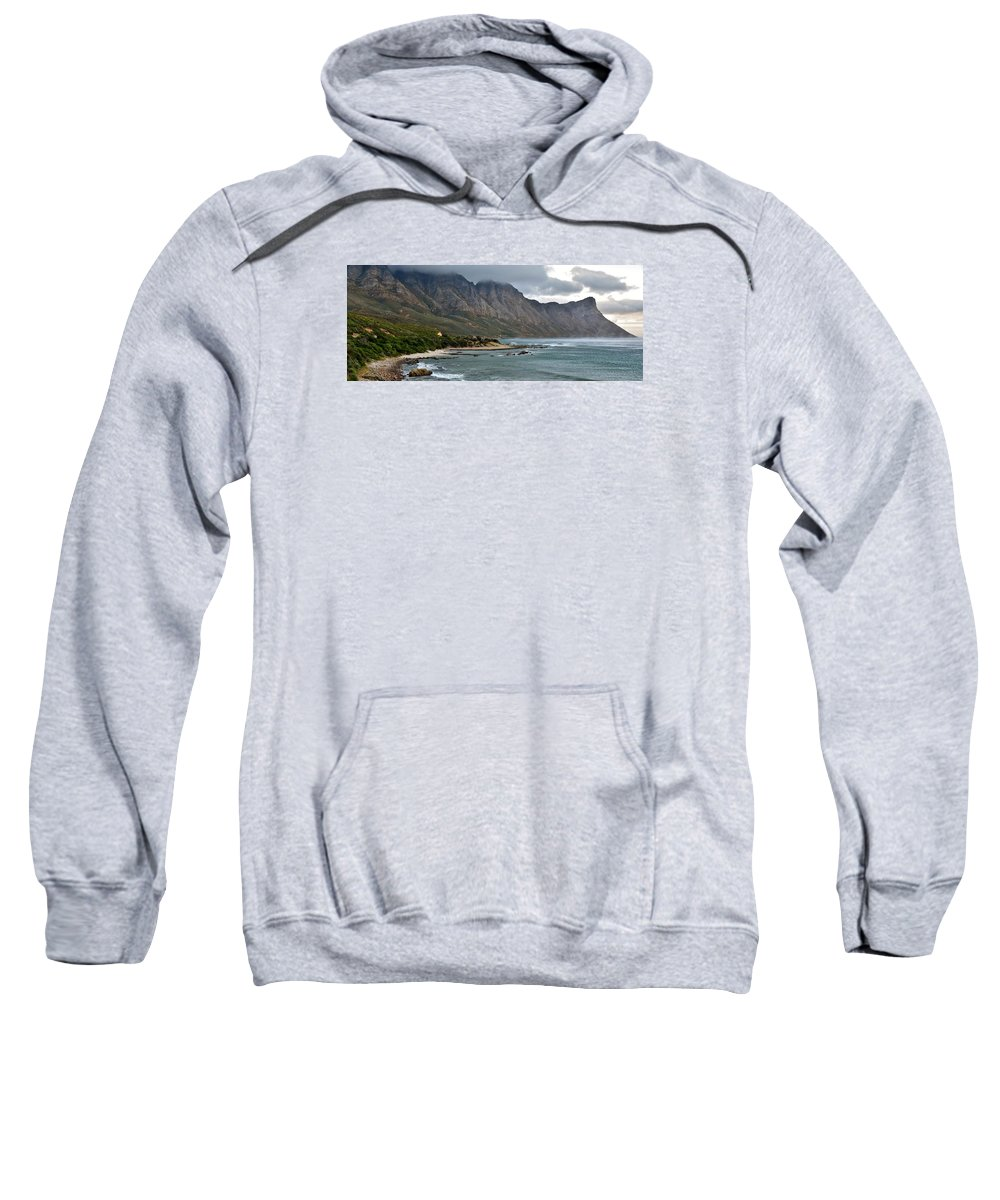 Landscape; Rocky; Coast- Line; Mountains; Morning Light; South Africa; Overberg; Atlantic Ocean; Stormy Weather; Dark Clouds; Panorama; Beach; Sand; Sweatshirt featuring the photograph Rocky Coast Line by Werner Lehmann