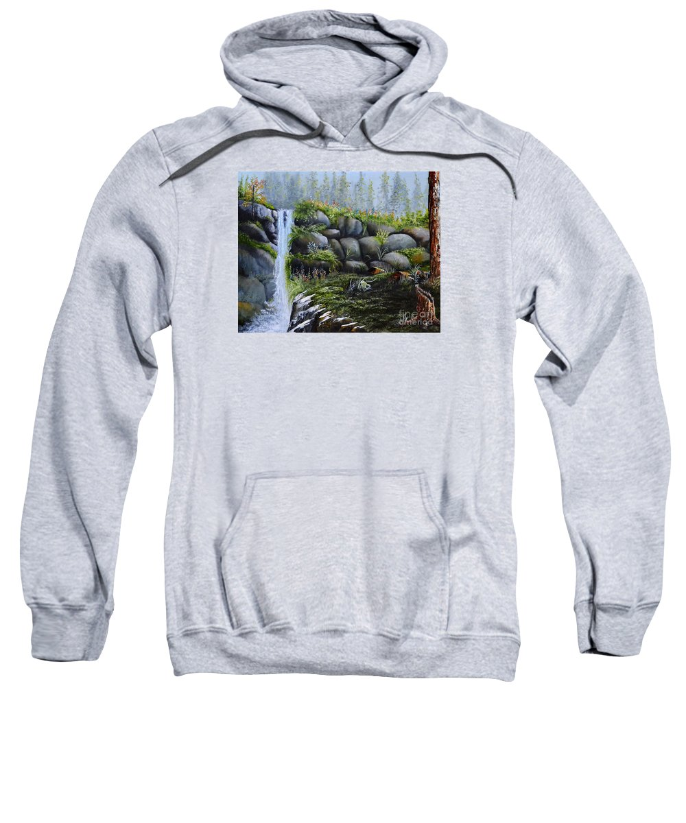 A Waterfalls In The Woods With Large Boulders Sweatshirt featuring the painting Rocky Falls by Martin Schmidt
