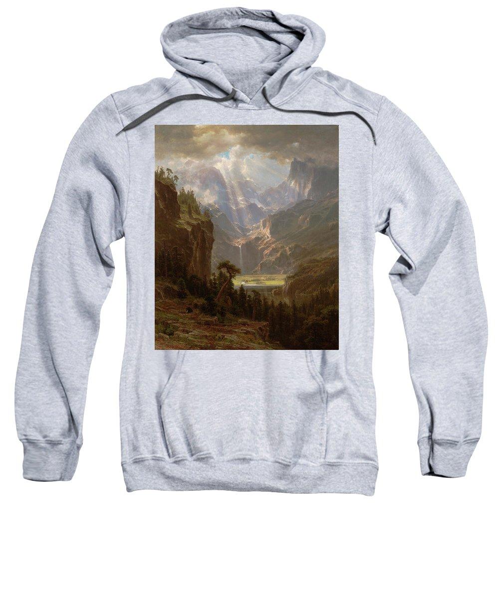 Albert Bierstadt Sweatshirt featuring the painting Rocky Mountains, Lander's Peak by Albert Bierstadt