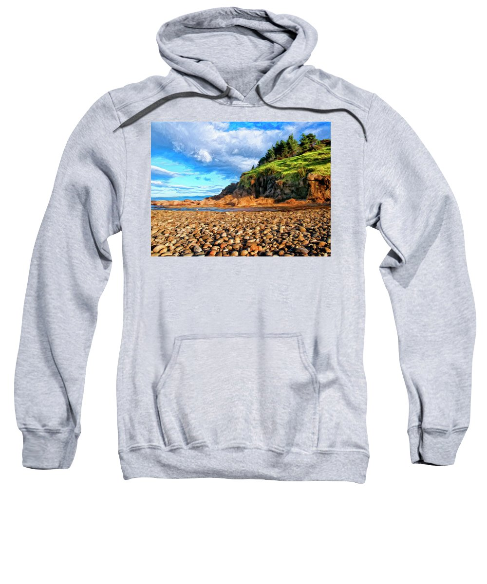 Rocky Oregon Beach Sweatshirt featuring the painting Rocky Oregon Beach by Dominic Piperata