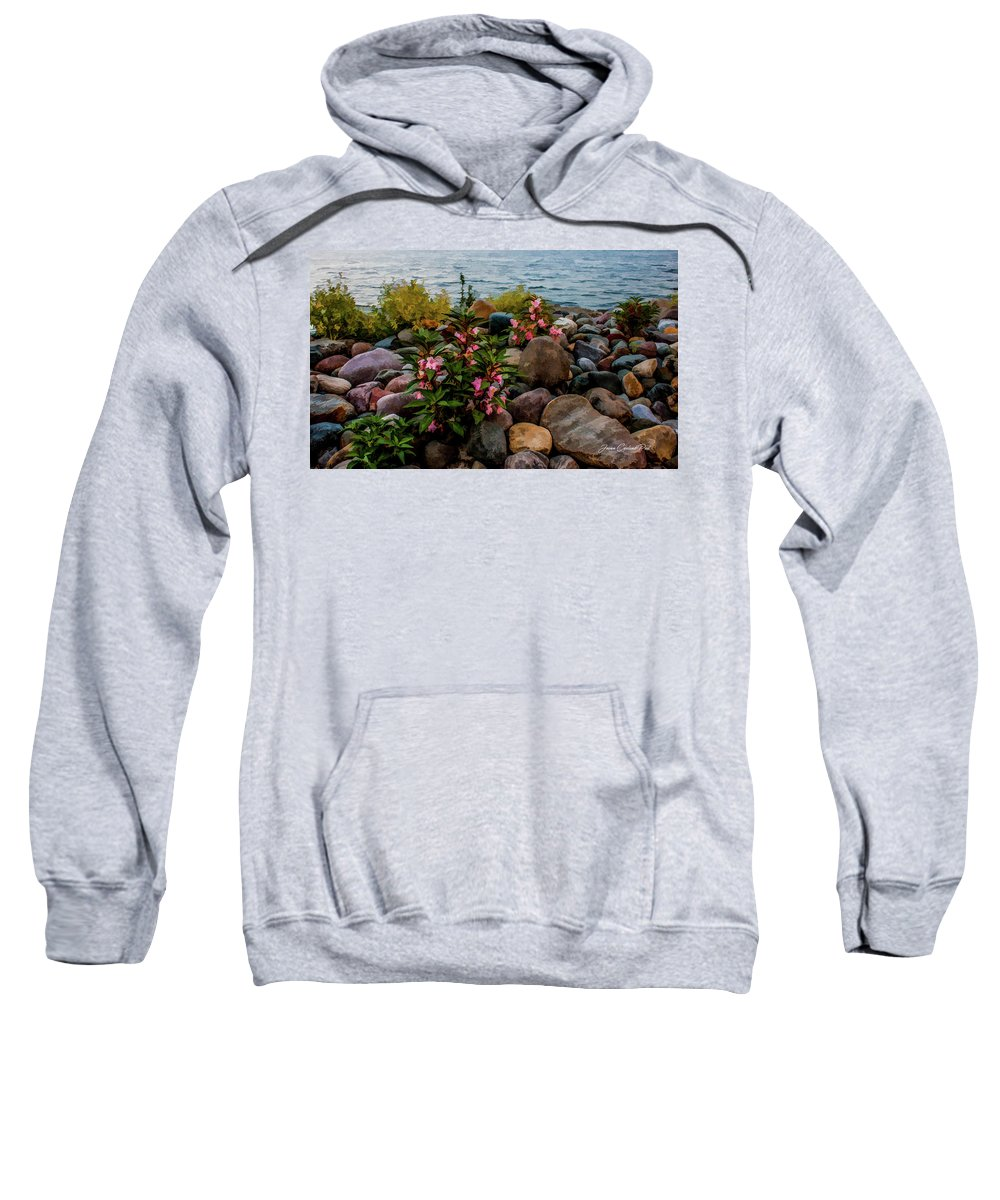 Rocky Shores Sweatshirt featuring the photograph Rocky Shores Of Lake St. Clair- Michigan by Joann Copeland-Paul