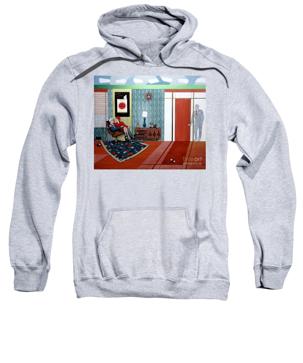 John Lyes Sweatshirt featuring the painting Roger Sterling And Joan Sitting In An Eames by John Lyes