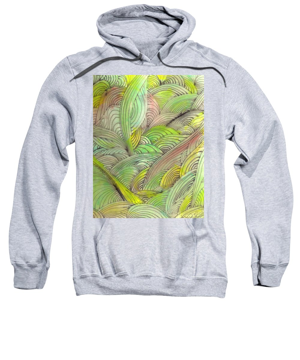 Abstract Sweatshirt featuring the painting Rolling Patterns In Greens by Wayne Potrafka