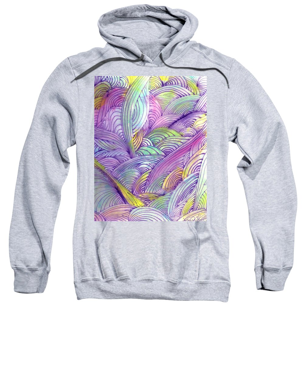 Abstract Sweatshirt featuring the painting Rolling Patterns In Pastel by Wayne Potrafka