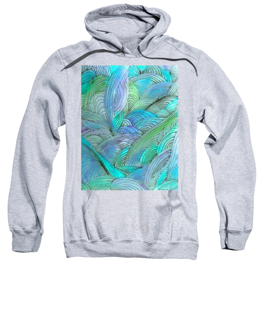 A Sweatshirt featuring the painting Rolling Patterns In Teal by Wayne Potrafka