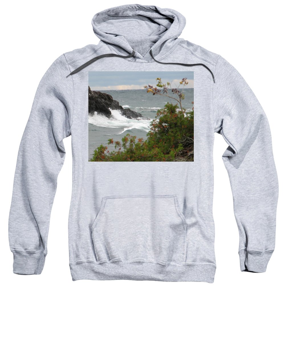 Waves Sweatshirt featuring the photograph Rolling Storm by Kelly Mezzapelle