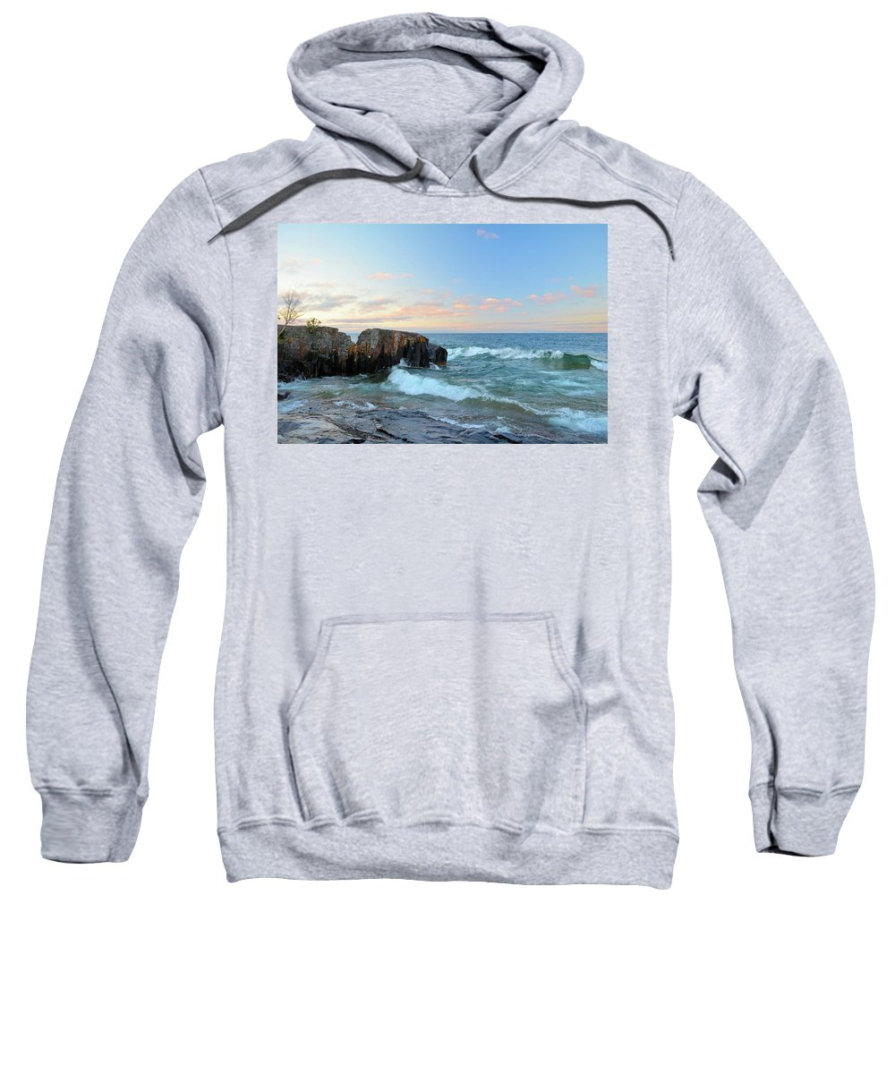 Lake Sweatshirt featuring the photograph Rolling Waves On Superior by Bonfire Photography