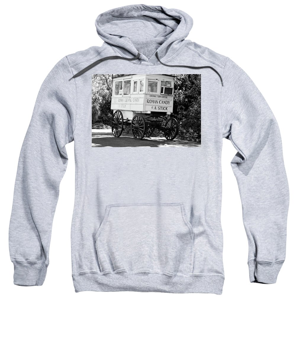 New Orleans Sweatshirt featuring the photograph Roman Candy - Bw by Scott Pellegrin