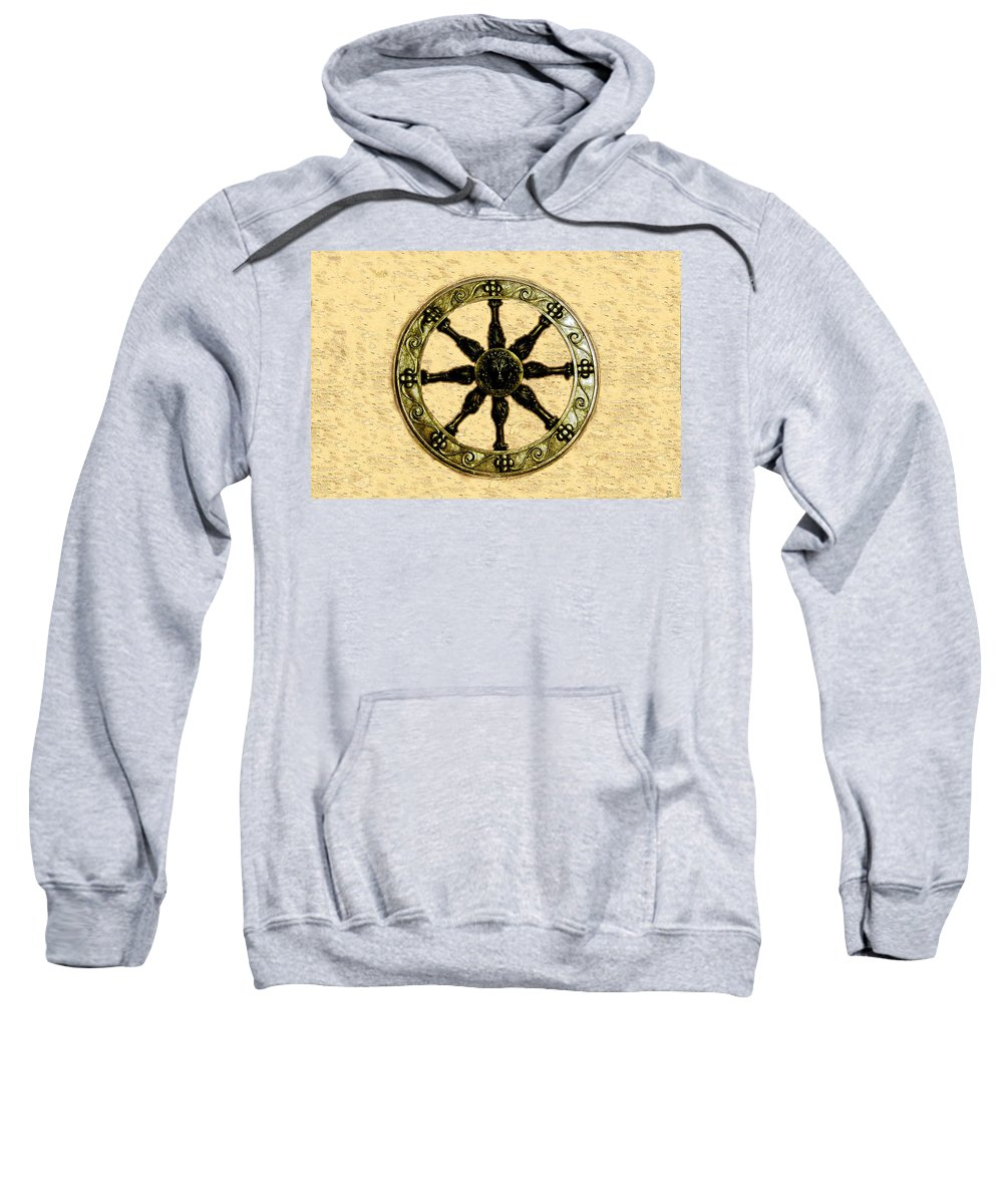 Wheel Sweatshirt featuring the painting Roman Wheel by David Lee Thompson