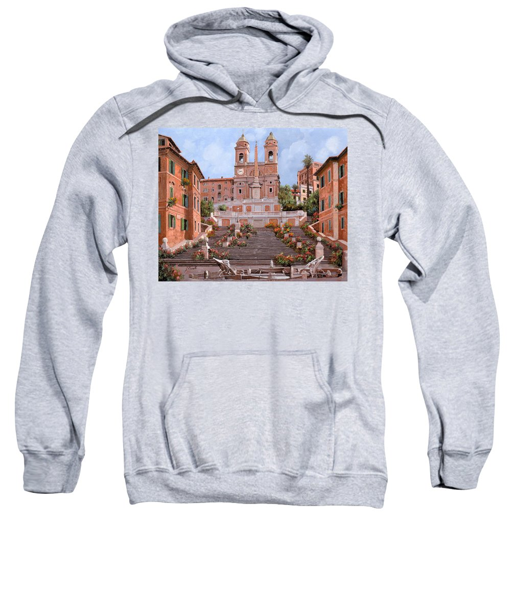 Rome Sweatshirt featuring the painting Rome-piazza Di Spagna by Guido Borelli
