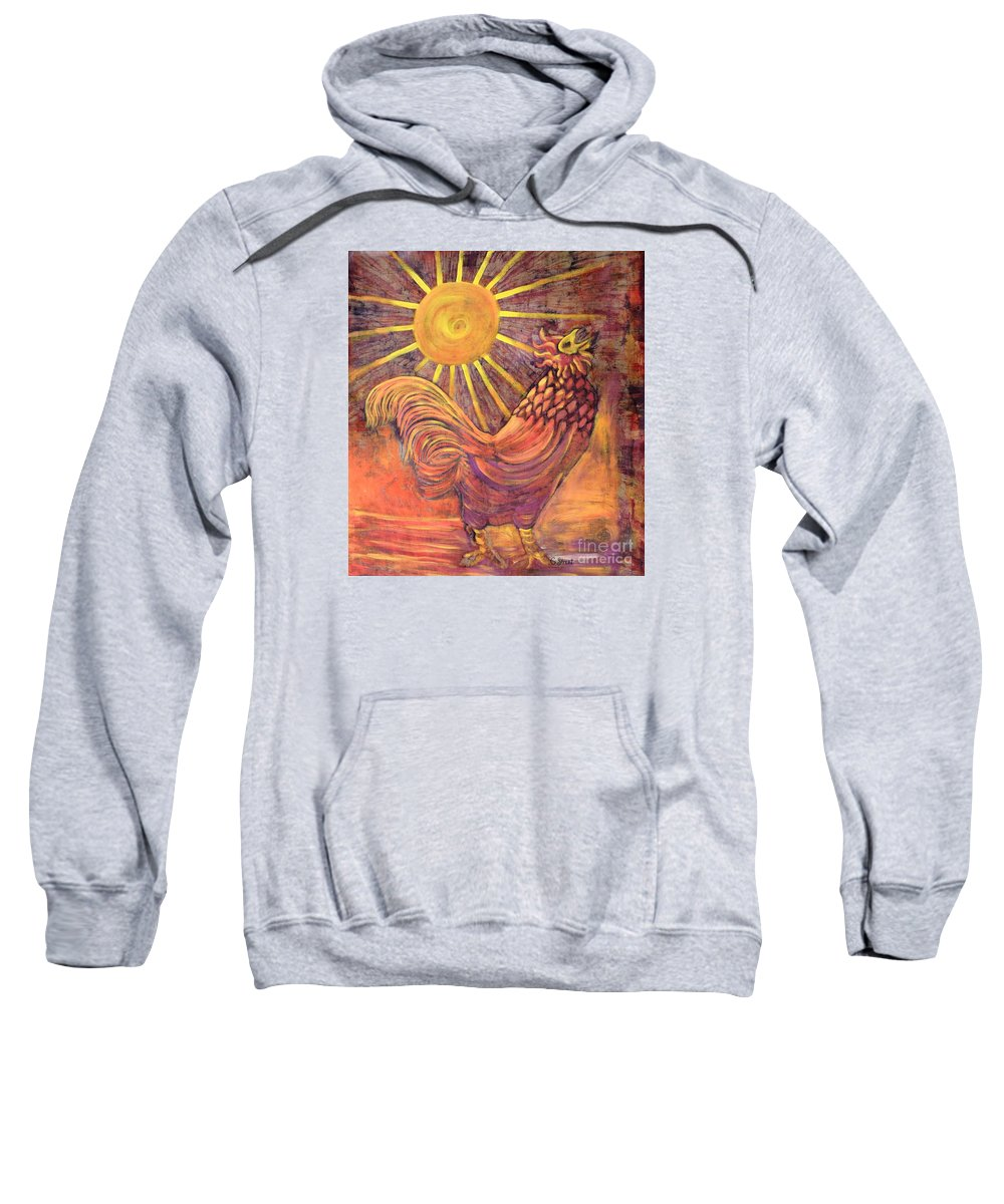Rooster Sweatshirt featuring the mixed media Rooster Batik by Caroline Street