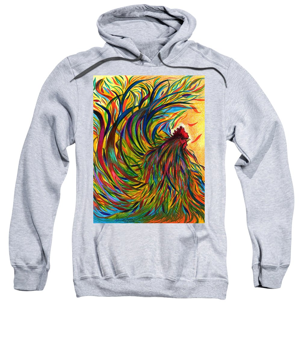 Roosters Sweatshirt featuring the mixed media Roosters Frienship by Fanny Diaz