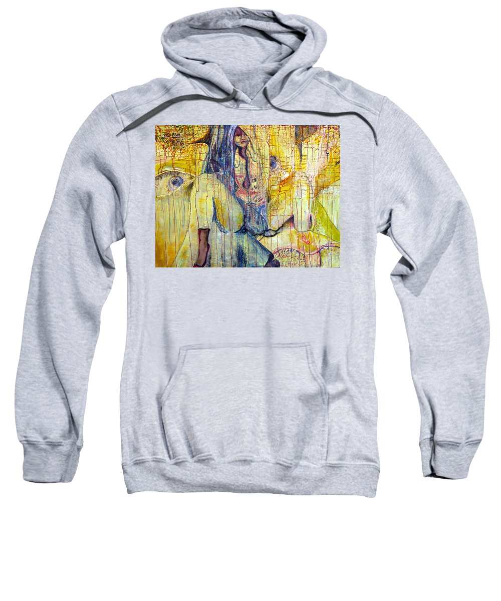 Portrait Sweatshirt featuring the painting Roots by Peggy Blood