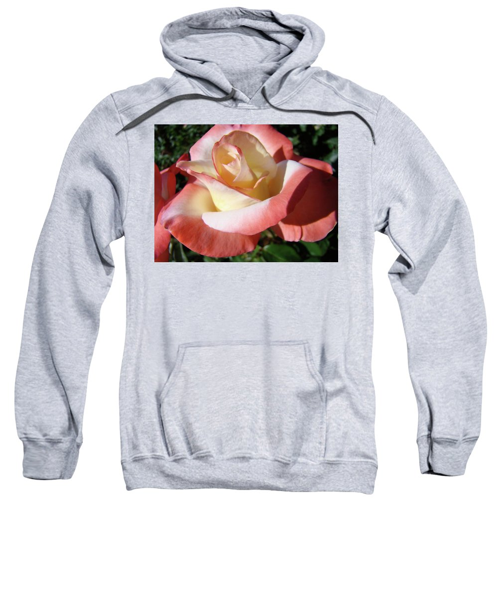 Rose Sweatshirt featuring the photograph Rose Artwork Floral Pink White Roses Baslee Troutman by Baslee Troutman
