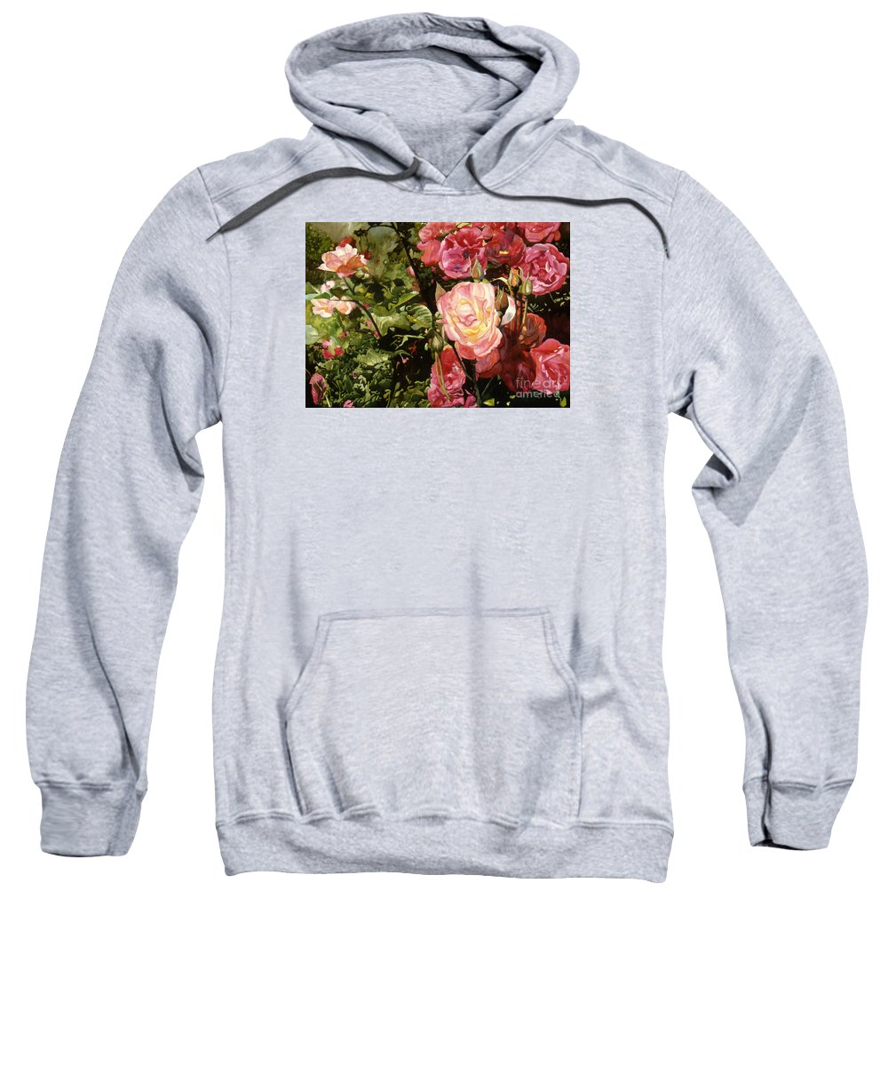 Watercolor Sweatshirt featuring the painting Rose Garden by Teri Starkweather