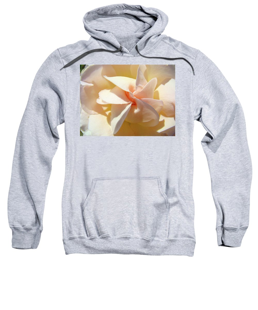 Rose Sweatshirt featuring the photograph Rose Spiral Flower Art Prints Peach Rose Floral Baslee Troutman by Baslee Troutman