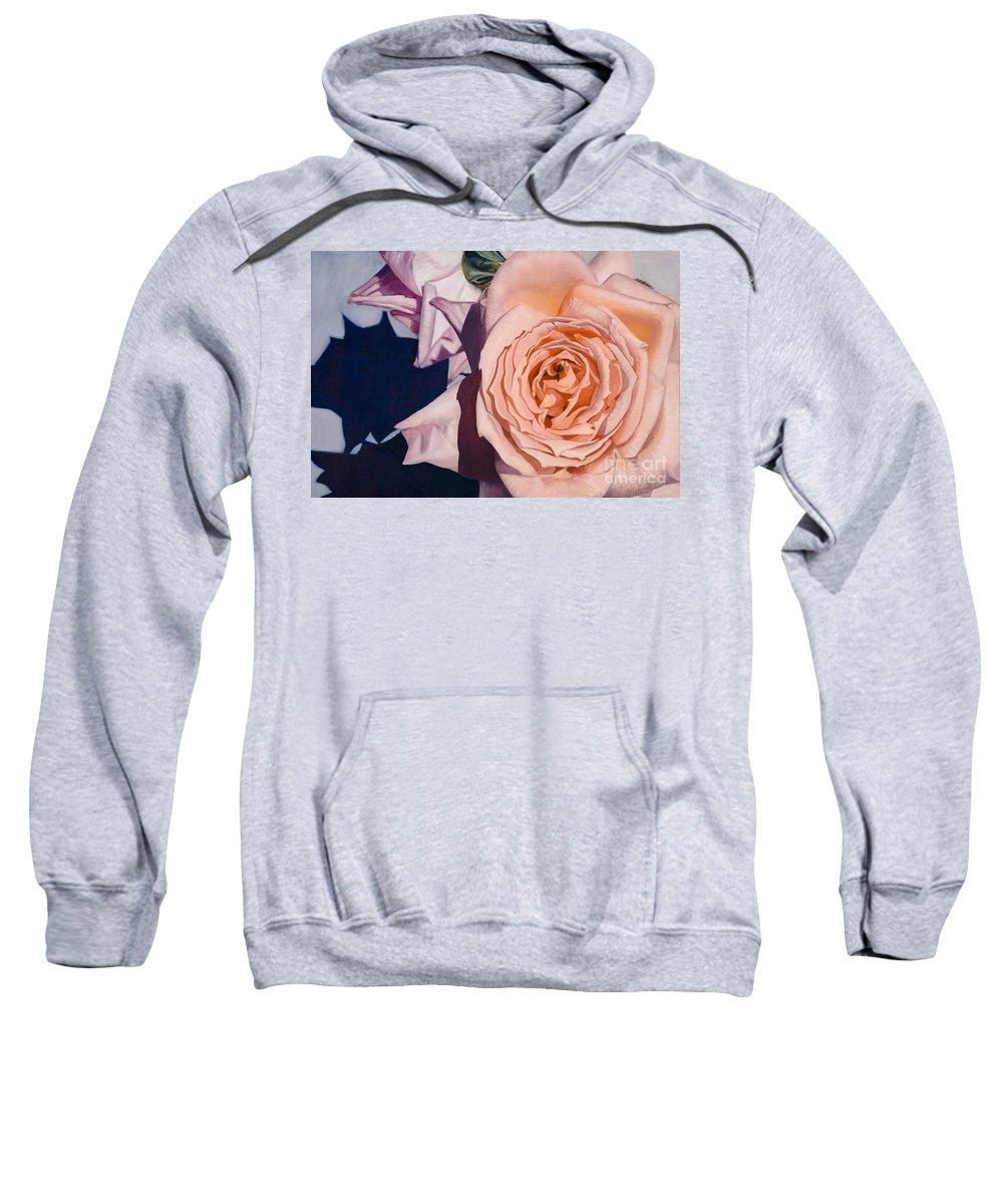 Roses Sweatshirt featuring the painting Rose Splendour by Kerryn Madsen-Pietsch