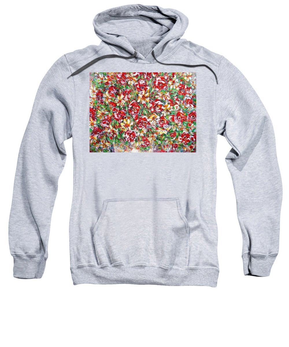 Red Roses Sweatshirt featuring the painting Roses For You by Natalie Holland