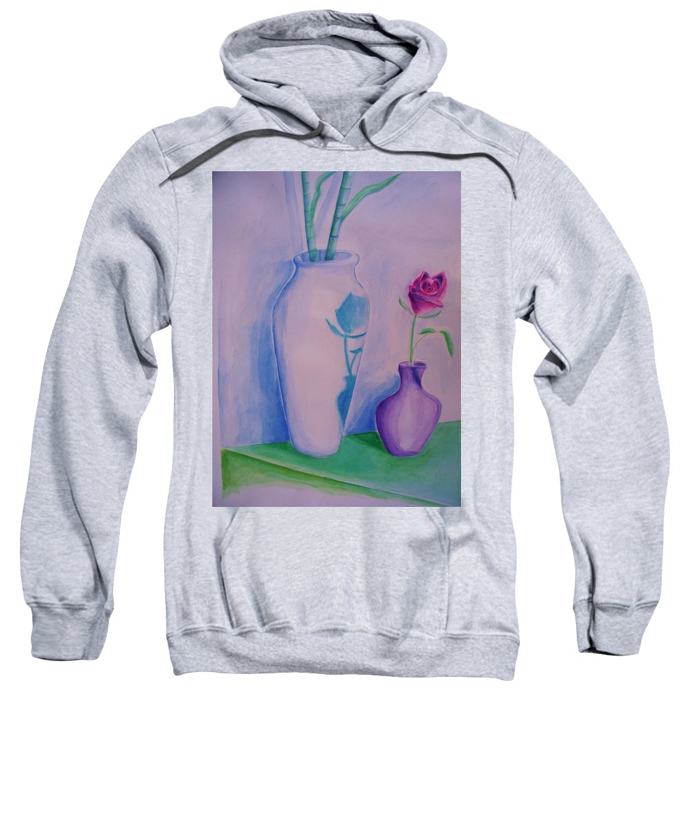 Red Rose Sweatshirt featuring the painting Roses In Vase by Eric Schiabor