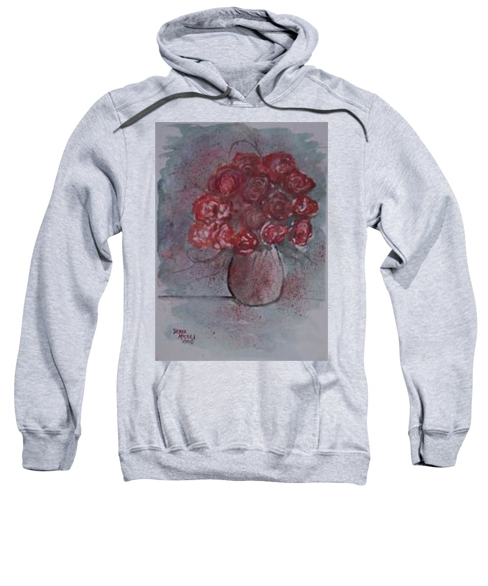 Watercolor Sweatshirt featuring the painting Roses Still Life Watercolor Floral Painting Poster Print by Derek Mccrea