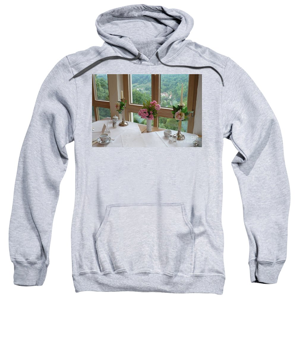 Rothenburg Sweatshirt featuring the photograph Rothenburg Dining With A View by Carol Groenen