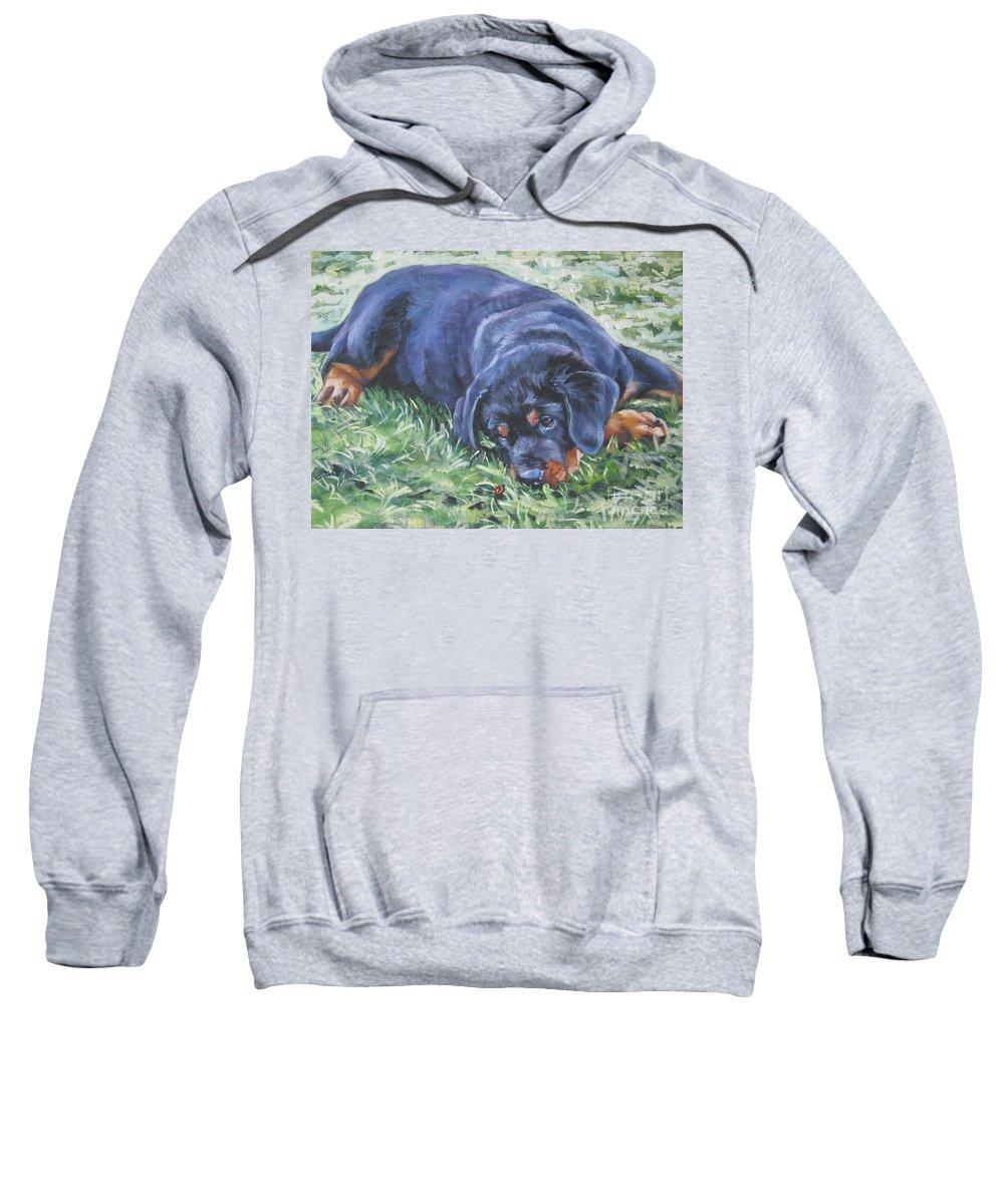 Rottweiler Sweatshirt featuring the painting Rottweiler Puppy by Lee Ann Shepard