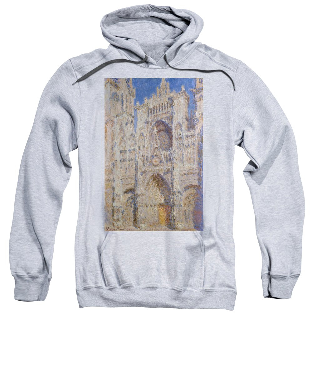 Architectural Sweatshirt featuring the painting Rouen Cathedral, The Portal, Sunlight by Claude Monet