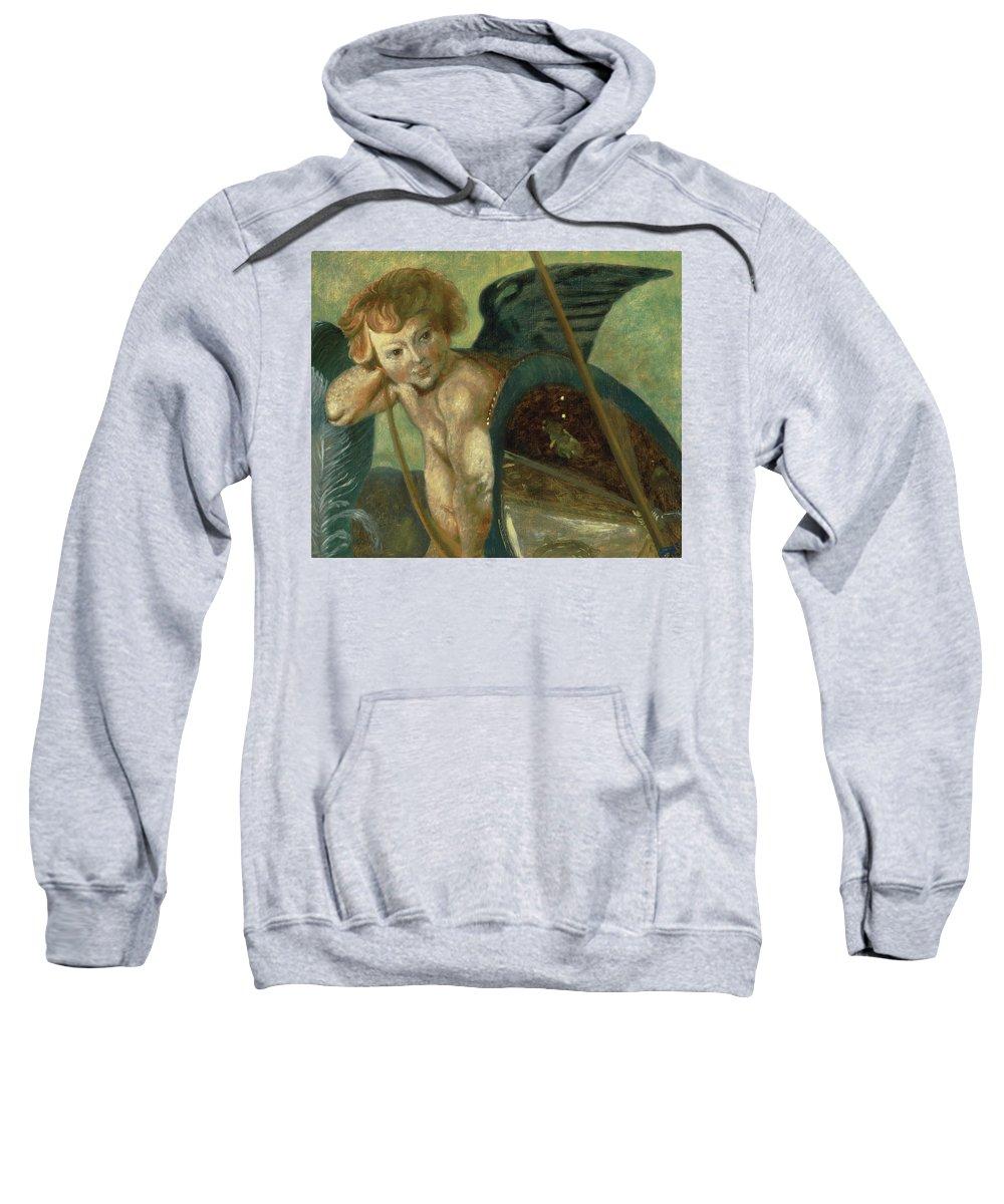 Angel Sweatshirt featuring the painting Ruben's Angel by Shelley Irish