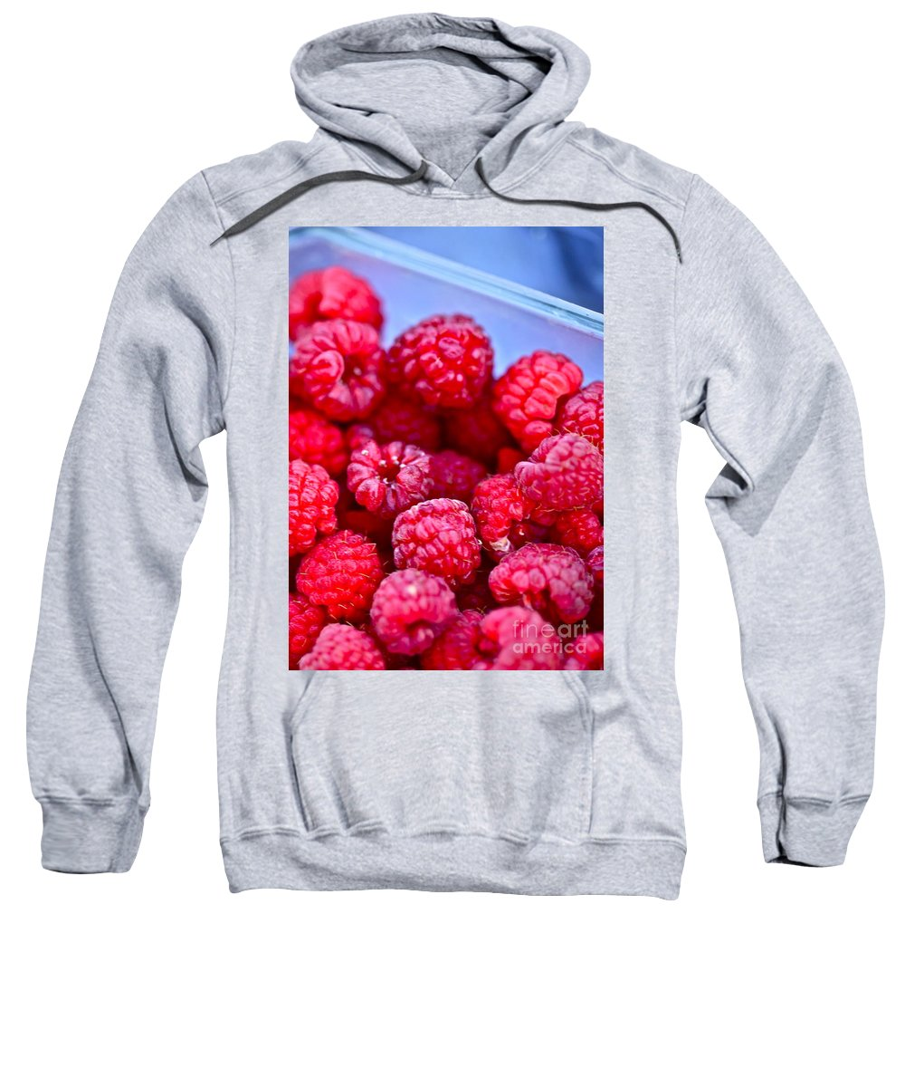 Red Sweatshirt featuring the photograph Ruby Raspberries by Nadine Rippelmeyer