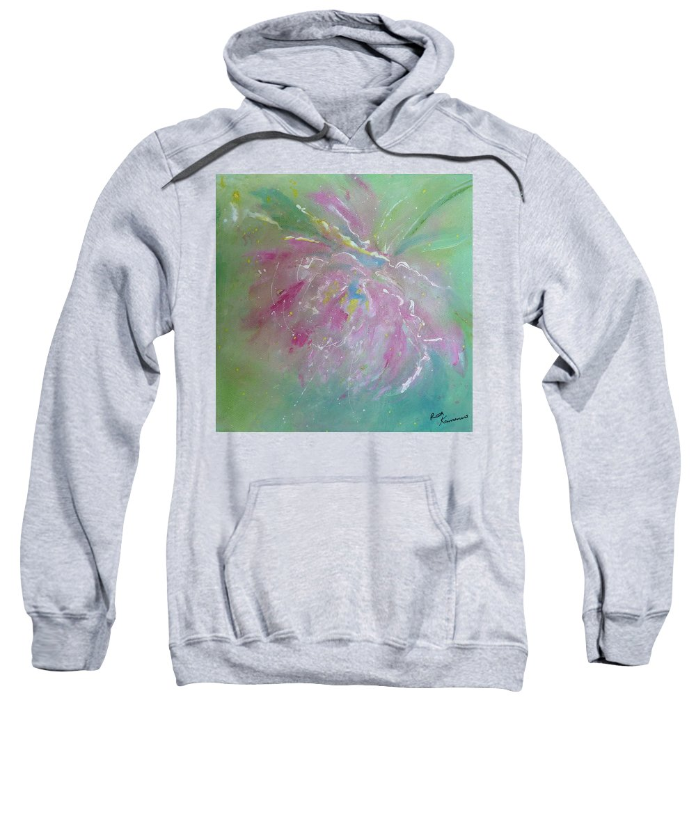 Peony Sweatshirt featuring the painting Ruby Red Peony by Ruth Kamenev