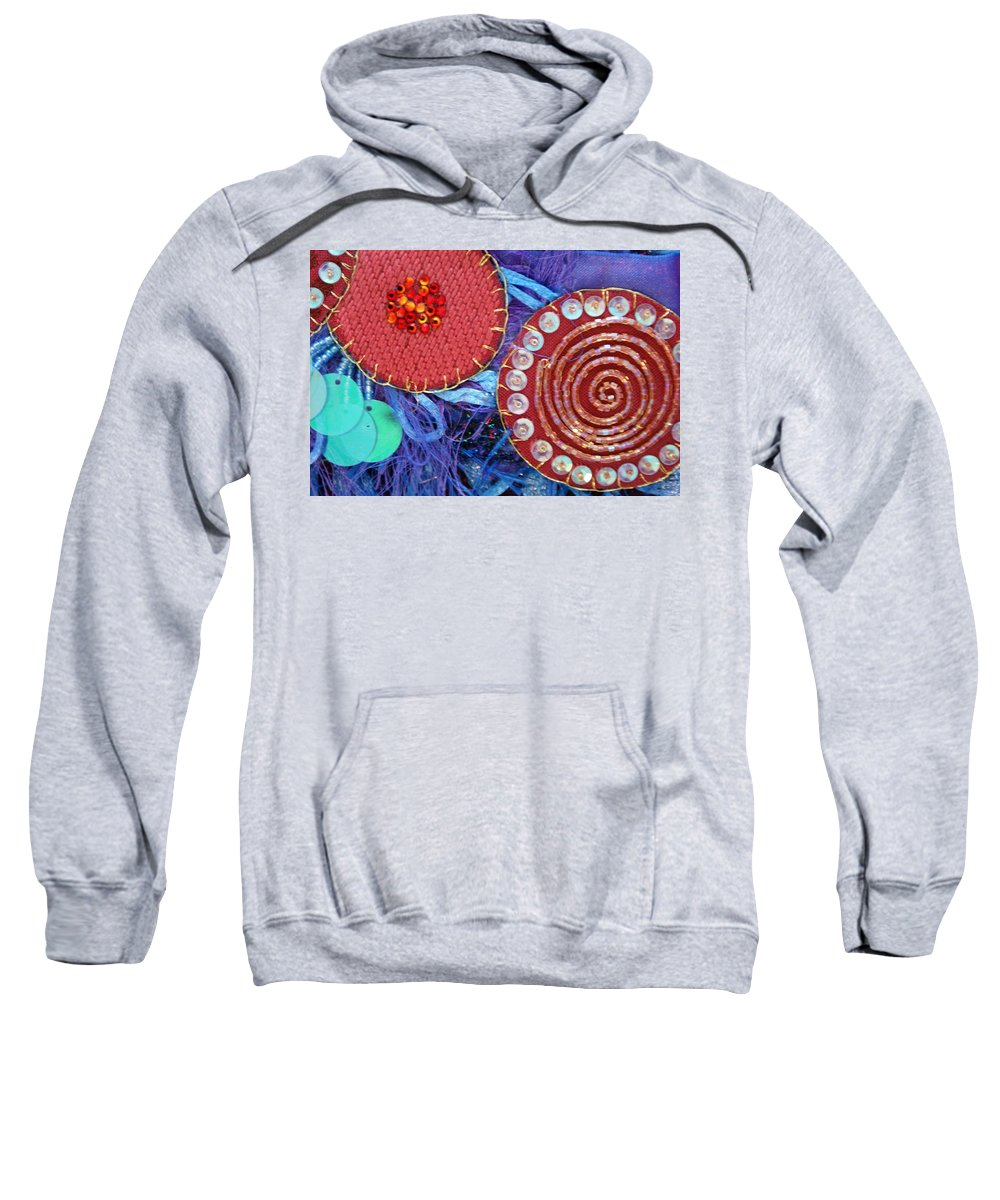 Sweatshirt featuring the mixed media Ruby Slippers 5 by Judy Henninger