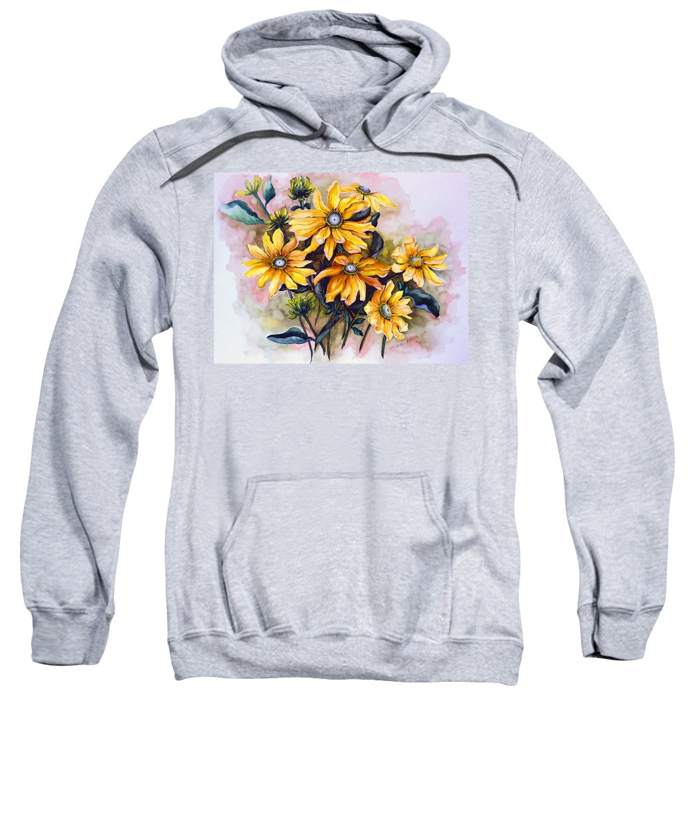Flower Painting Sun Flower Painting Flower Botanical Painting  Original Watercolor Painting Rudebeckia Painting Floral Painting Yellow Painting Greeting Card Painting Sweatshirt featuring the painting Rudbeckia Prairie Sun by Karin Dawn Kelshall- Best