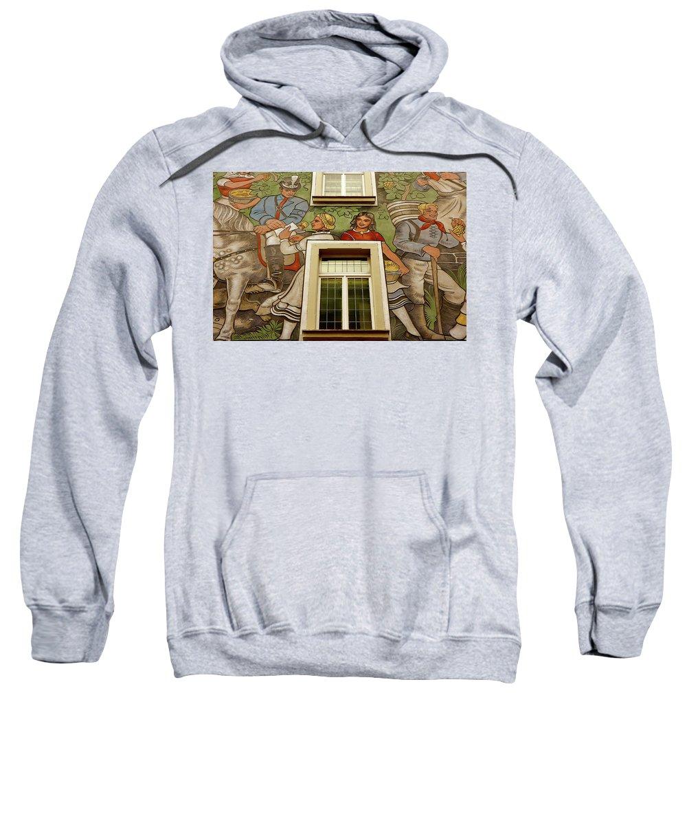 Rudesheim Sweatshirt featuring the photograph Rudesheim Mural by KG Thienemann