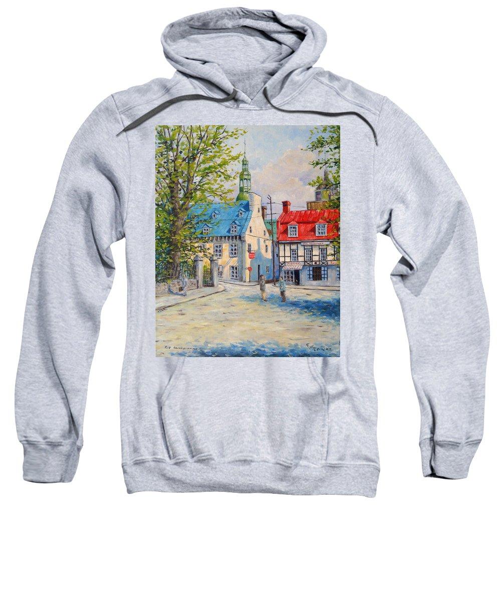 Ste Anne Sweatshirt featuring the painting Rue Ste Anne 1965 by Richard T Pranke
