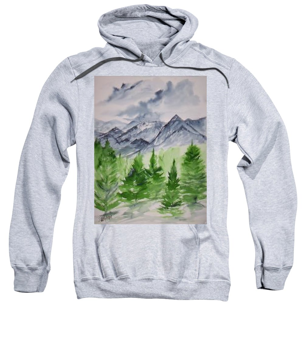 Plein Air Sweatshirt featuring the painting Ruidoso NM southwestern mountain landscape watercolor painting poster print by Derek Mccrea